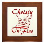 Christy On Fire Framed Tile