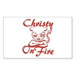 Christy On Fire Sticker (Rectangle)