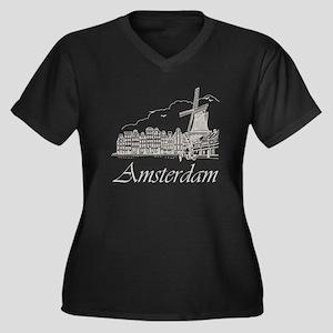 Vintage Amsterdam Women's Plus Size V-Neck Dark T-