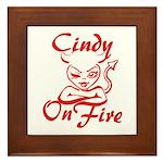 Cindy On Fire Framed Tile