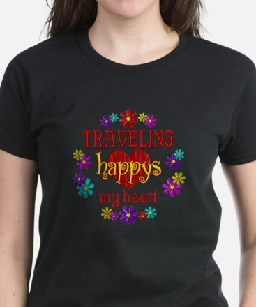 Traveling Happy Women's Dark T-Shirt