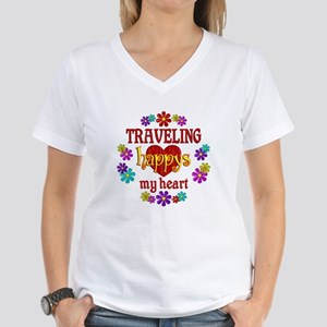 Traveling Happy Women's V-Neck T-Shirt