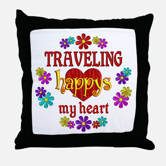 Traveling Happy Throw Pillow