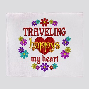 Traveling Happy Throw Blanket