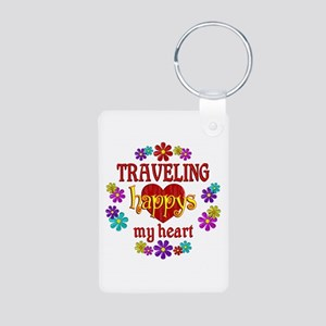 Traveling Happy Aluminum Photo Keychain