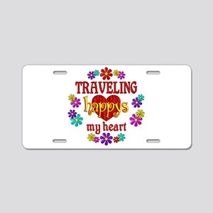 Traveling Happy Aluminum License Plate