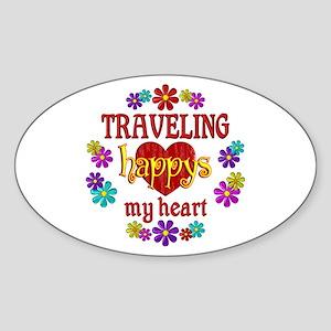 Traveling Happy Sticker (Oval)