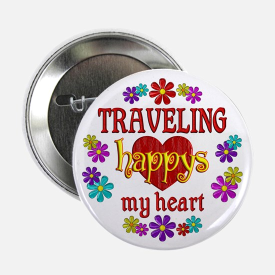 """Traveling Happy 2.25"""" Button (10 pack)"""