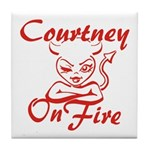 Courtney On Fire Tile Coaster