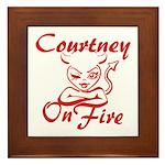 Courtney On Fire Framed Tile