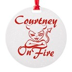Courtney On Fire Round Ornament