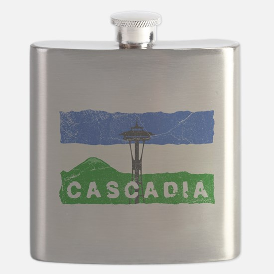 Cascadian Space Needle Flag Flask
