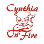 Cynthia On Fire Square Car Magnet 3