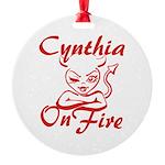 Cynthia On Fire Round Ornament