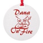 Dana On Fire Round Ornament