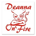 Deanna On Fire Square Car Magnet 3