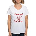 Deborah On Fire Women's V-Neck T-Shirt