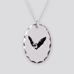 Bat Necklace Oval Charm