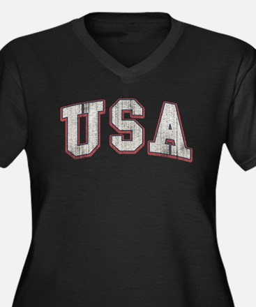 Vintage Team USA Women's Plus Size V-Neck Dark T-S