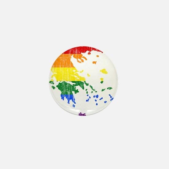 Greece Rainbow Pride Flag And Map Mini Button