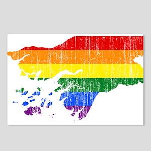 Guinea Bissau Rainbow Pride Flag And Map Postcards