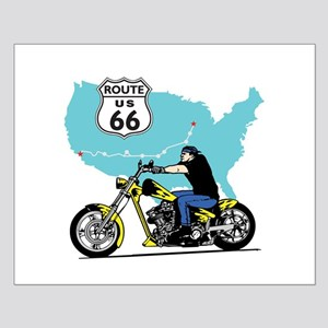 Route 66 Biker Small Poster