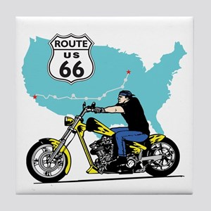 Route 66 Biker Tile Coaster