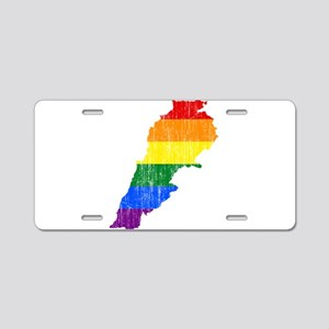 Lebanon Rainbow Pride Flag And Map Aluminum Licens