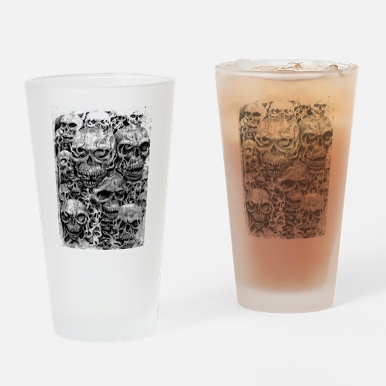 skulls dark ink Drinking Glass