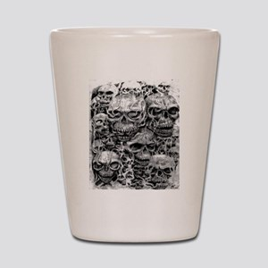 skulls dark ink Shot Glass