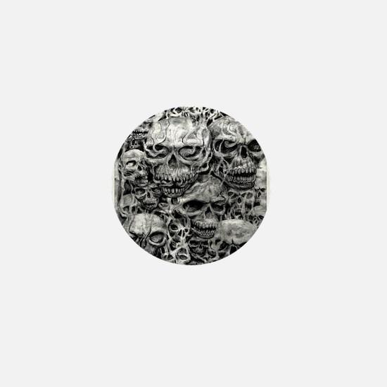 skulls dark ink Mini Button