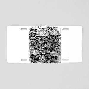 skulls dark ink Aluminum License Plate