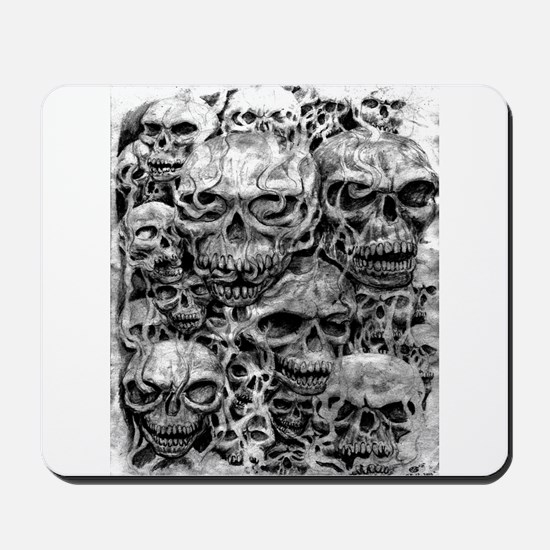 skulls dark ink Mousepad