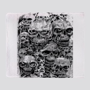 skulls dark ink Throw Blanket