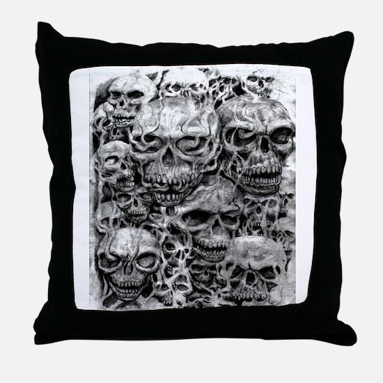 skulls dark ink Throw Pillow