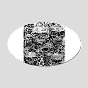 skulls dark ink 20x12 Oval Wall Decal