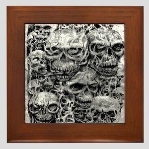 skulls dark ink Framed Tile