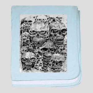 skulls dark ink baby blanket