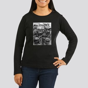 skulls dark ink Women's Long Sleeve Dark T-Shirt