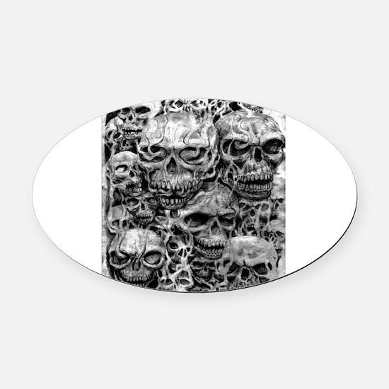 skulls dark ink Oval Car Magnet