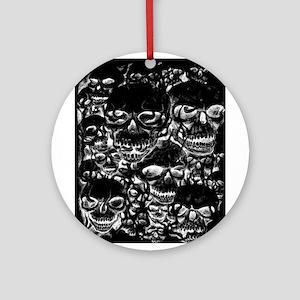 skulls darker ink inverted Ornament (Round)