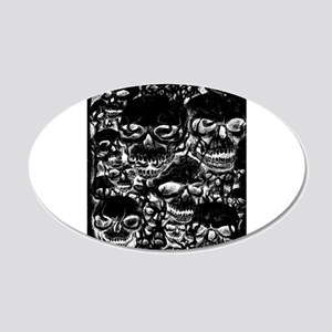 skulls darker ink inverted 20x12 Oval Wall Decal