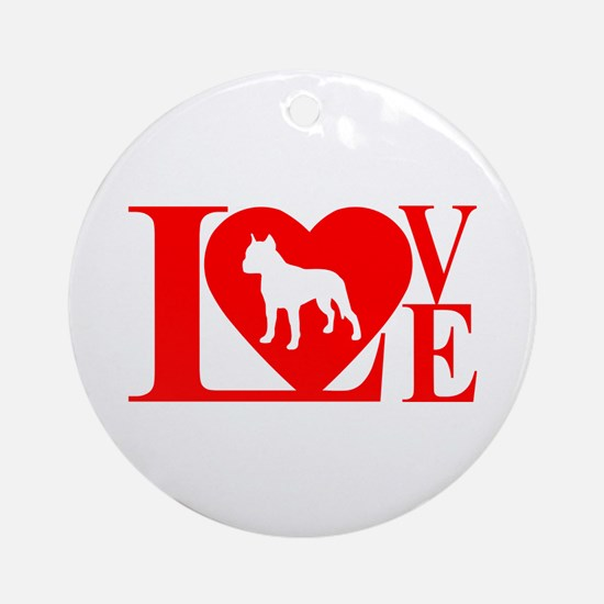 PIT BULL LOVE Ornament (Round)