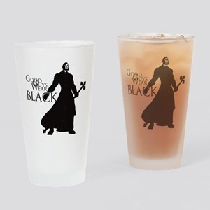 Good Guys Wear Black Drinking Glass