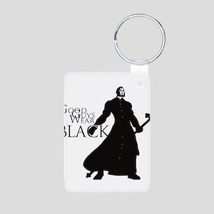 Good Guys Wear Black Aluminum Photo Keychain