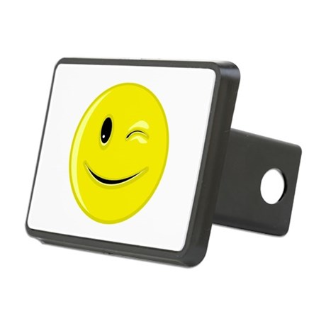 Winking Smiley Face Rectangular Hitch Cover