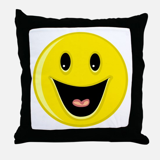 Laughing Smiley Face Throw Pillow