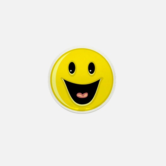 Laughing Smiley Face Mini Button