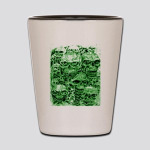 skulls dark ink green shade Shot Glass