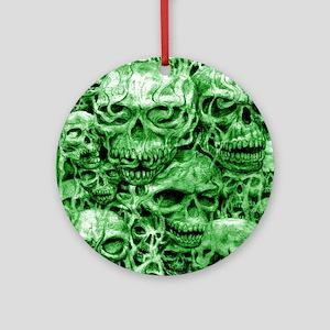 skulls dark ink green shade Ornament (Round)